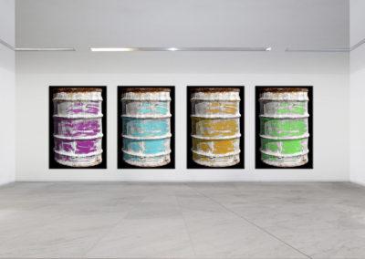 Bidoni Colorati su tela materica 2008