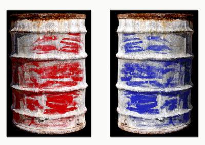 Bidoni Rosso e Blu su tela materica 2008